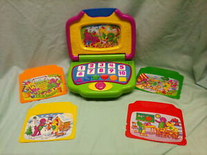 VTG 2002 Barney & Friends Interactive Educational Laptop by Mattel w/5 Cards GM1