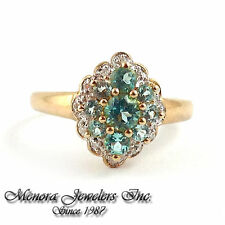 925 Sterling Silver Gold PLATED Ring Blue Mystic Topaz & Genuine Diamonds Size 7
