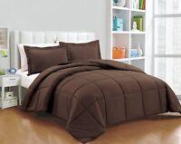 Chezmoi Collection 3-Piece Ultra Soft Down Alternative Comforter Set, Chocolate