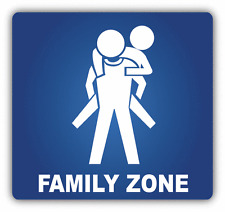 "Family Zone Sign Car Bumper Sticker Decal 5"" x 4"""