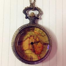 Map Necklace Pendant Pocket Watch Ornate Christmas Gift Retro Antique Chain Au
