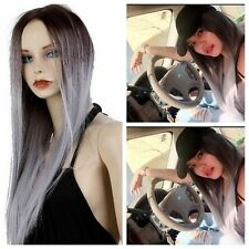 Women Korean Long Straight Wigs Heat Resistant Hair  Ombre Brown to Blonde Wig
