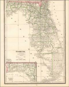 FLORIDA, antique map, very nice, original 1884*