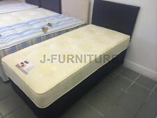 3ft Single Divan Bed With Black Base & Real Orthopaedic 25cm Deep Mattress