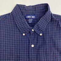 Cherokee Button Up Shirt Men's Size 2XL XXL Short Sleeve Blue Gingham Casual
