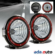 "2X 7"" HID Off Road Lights Flood Driving Lamps Mount On Grille/Bull Bar/Roof Set"