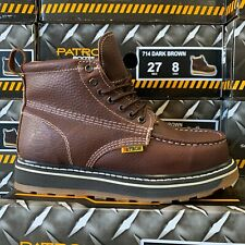 MEN'S WORK BOOTS MOC TOE GENUINE LEATHER LACE UP SAFETY BROWN COLLAR SOFT #714 D