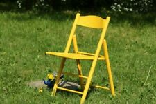 Folding Garden Chair Vintage Wooden Yellow Chair Balcony Outdoor Patio Furniture