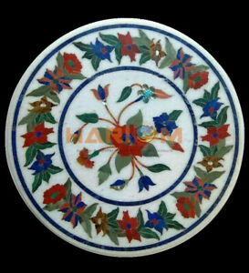 """16"""" Marble Coffee Table Top Lapis Carnelian Floral Inlay Work Bedroom Decor W372"""