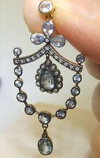 Victorian Style 9ct Gold & Silver Pear Shaped Aquamarine & Diamond Pendant