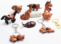 Portachiavi Cuoio Ciondolo 3D Vera Pelle Gli Animali della Fattoria Uomo Donna