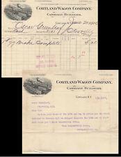 1906-7 Cortland Wagon Co. Carriage Builders Letterhead & Invoice-New York