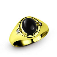 10k Fine Solid Gold with Oval Black Onyx and 2 DIAMOND Accents Mens Ring All Sz