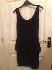 ASOS Black Bodycon Peplum Dress. Size 10. LBD. Christmas party dress