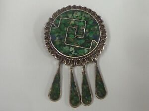 Brooch/Pendant Sterling Silver And Malachite - 7.00gr