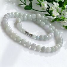 Certified Natural Untreated Light Green Jadeite Jade Round Beads Necklace 8mm AA