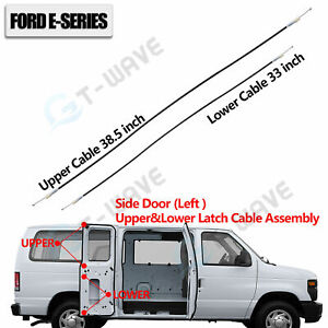 Side Cargo Door Left Upper&Lower Door Latch Release Cable for Ford E150 250 350