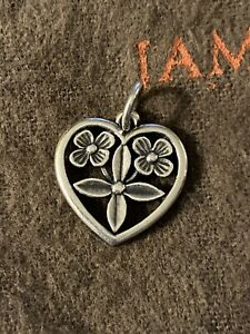 James Avery Retired Heart Flowers Charm Sterling Silver 3/4 Inch
