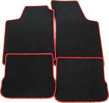 Für BMW 5er E34 Fußmatten 4-teilig in Velours Deluxe schwarz mit Kunstleder rot