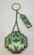 Vintage R & G Co. Double Enameled Floral Guilloche Tango Compact & Lipstick