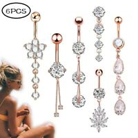 6PCS/LOT Long Dangle Navel Belly Ring Surgical Steel with CZ Button Ring Set 14G