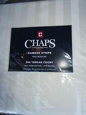 Chaps Home Damask Stripe 100% Pima Cotton 500Tc King Bedskirt Ivory New