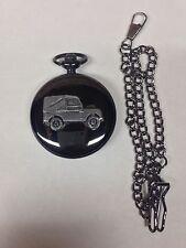 Reloj de bolsillo Land Rover Serie 1 SWB ref112 Emblema Pulido negro caso para hombres