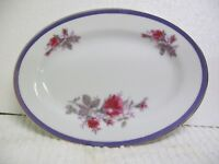 """Vintage Oval Bone or Under plate Moss Rose China 'Japan' BLUE BAND 8 X 5 3/4"""""""