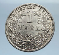 1915 GERMANY WILHELM II w Eagle Antique German Empire Silver 1 Mark Coin i71598