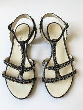 CHANEL BLACK BEIGE OVERLAY CHAIN STRAPPY SANDALS FLATS 40 9 MINT CONDITION