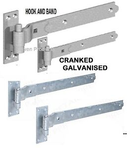 """10"""" GATE CRANKED HOOK & BAND HINGES HEAVY DUTY STABLE GARAGE SHED BARN DOOR  D30"""