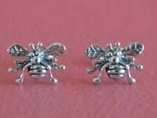 925 Sterling Silver Insect Honey Bumble Bee Stud Post Earrings - Bee Earrings