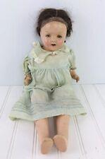 "Vtg Composition Girl Sleepy Eye Antique Teeth Doll  Dress Hair 18"""