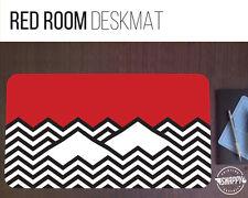 "Twin Peaks Red Room Desk Mat - 12"" x 22"" - Black Lodge Pattern Extended Mousepad"