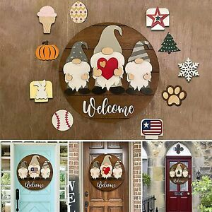 Triple Gnome Interchangeable Season Welcome Sign Rustic Farmhouse Door Decors