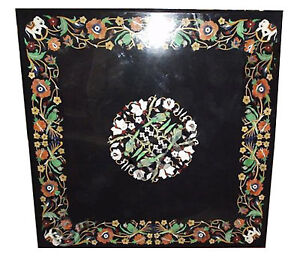 """36"""" Black Marble Dining Table Parrot Marquetry Inlay Dinning Room Deco Art H2053"""