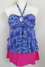 f4767cf0afe3a Collections by Catalina Size 1X Women s Tiered Ruffle Tankini Top w Skirt  Bottom