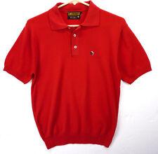 Vintage 60s Jockey Thorobred Ban-Lon 100% Nylon Rockabilly Red Polo Shirt M