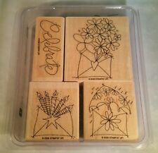 Stampin' Up Send A Celebration Set of 4 Wood Mounted Rubber Stamps 2006 Retired