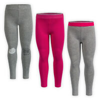 Girls Full Length Jersey Cotton Leggings Elasticated Waistline Kids Trousers