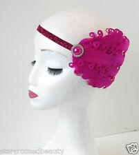Hot Pink Silver Feather Headpiece 1920s Charleston Flapper Headband Vintage O84