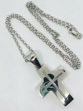 Mackech Jewels Mexico Sterling Silver Modernist Cross Pendant 925 Necklace