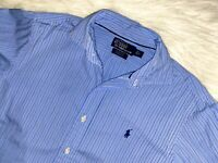 Polo Ralph Lauren dress shirt medium striped button down blue