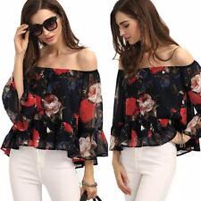 Sexy Women Off Shoulder Floral Chiffon Blouse Shirt Tops Summer T-shirt M
