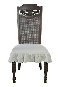 Linen Dining Room Chair Cover Slipcover 3 sided Ruffle Natural Flax Color Beige