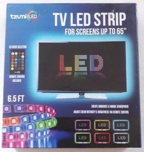 Tzumi Led TV LED Strip For Screens 16 Colour Selection Remote Control 6.5FT