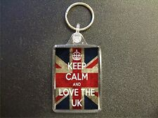 KEEP CALM AND LOVE THE UK UNION JACK KEYRING BAG TAG BIRTHDAY GIFT