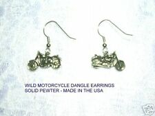 PEWTER DIRT BIKE EXTREME MOTORCROSS MOTORCYCLE EARRINGS RIDER FASHION JEWELRY