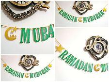 RAMADAN MUBARAK Eid decorations Bunting Banner gold and green glitter Handmade