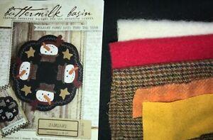 "Buttermilk Basin January Snowman Wool Penny Rug Kit 8 1/2"" round"